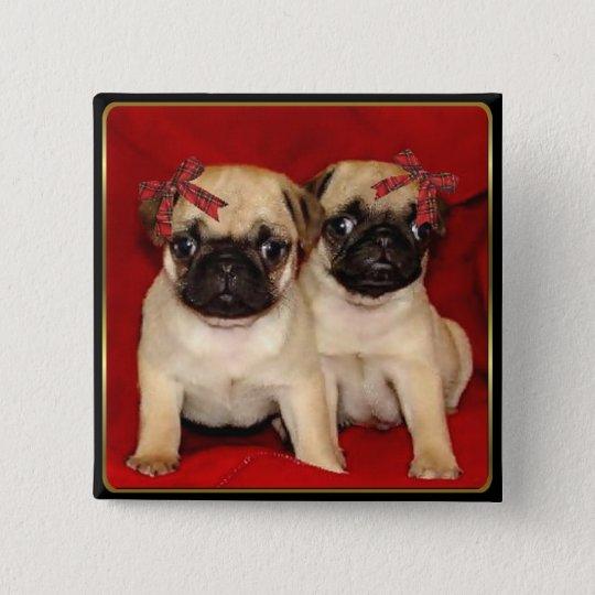 Christmas pug puppies 15 cm square badge