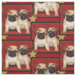 Christmas pug puppies dog pattern Fabric