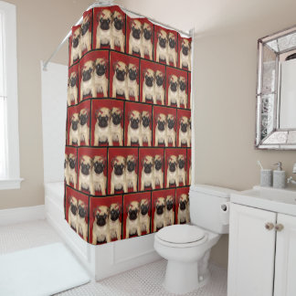 Christmas pug puppies  shower curtain