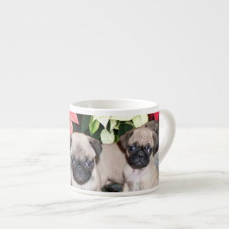 Christmas pug puppies espresso cups