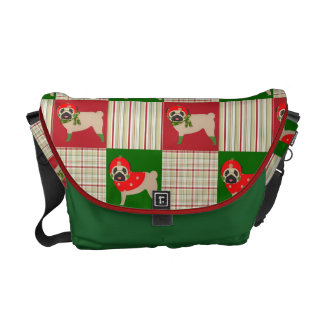 Christmas Pug Quilt GIfts, Home Decor Courier Bag