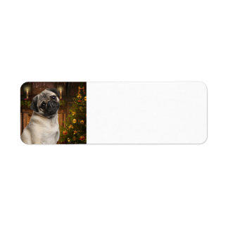 Christmas Pug Return Address Labels
