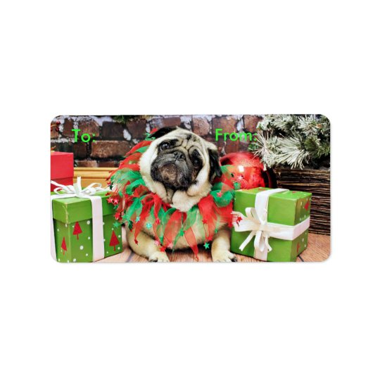 Christmas - Pug - Spencer Address Label