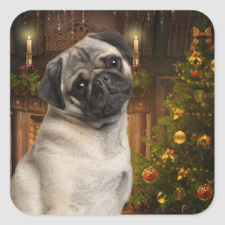 Christmas Pug Stickers