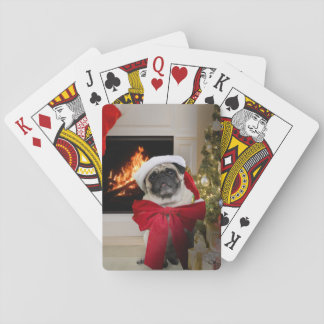 Christmas Pug Waiting for Santa Playing Cards