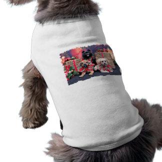 Christmas - Puggle Gus - Shorkie Charlie - Pom Maz Doggie Tee Shirt