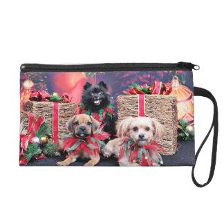 Christmas - Puggle Gus - Shorkie Charlie Pom Mazie Wristlet Purses