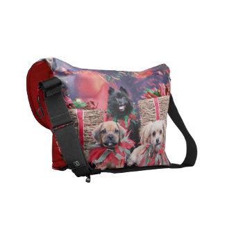 Christmas - Puggle Gus - Shorkie Charlie Pom Mazie Courier Bag