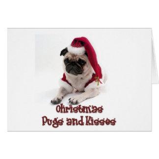 Christmas Pugs and Kisses Greeting Card