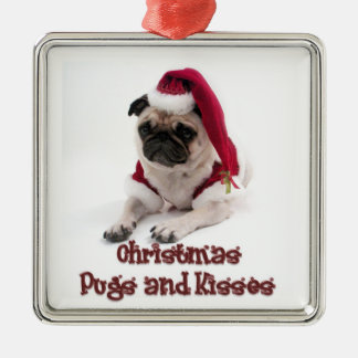 Christmas Pugs and Kisses Christmas Ornament