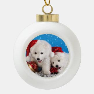 Christmas Puppies White Pomeranian Spitz Ceramic Ball Christmas Ornament