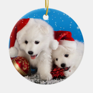 Christmas Puppies White Pomeranian Spitz Christmas Ornament