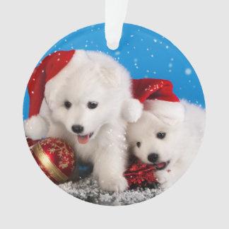 Christmas Puppies White Pomeranian Spitz Ornament