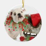 Christmas Puppy - English Bulldog Puppy Sitting Round Ceramic Decoration