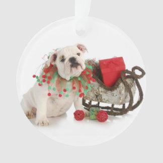 Christmas Puppy - English Bulldog Puppy Sitting Ornament