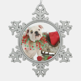 Christmas Puppy - English Bulldog Puppy Sitting Pewter Snowflake Decoration