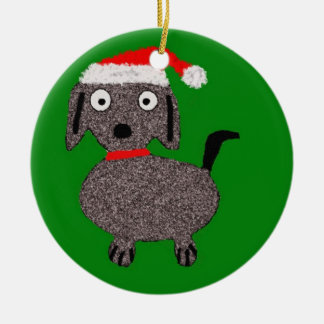 Christmas Puppy Green and Red Ornament