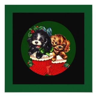 Christmas Puppy Hello 13 Cm X 13 Cm Square Invitation Card