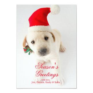 Christmas Puppy - Portrait Of Cute Labrador 13 Cm X 18 Cm Invitation Card