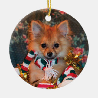 Christmas Puppy Round Ceramic Decoration