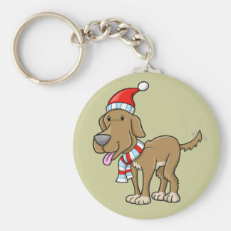 "Christmas Puppy ""Rusty"" Button Keychain"