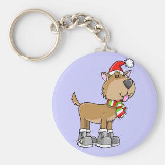 """Christmas Puppy """"Sadie"""" Button Keychain"""