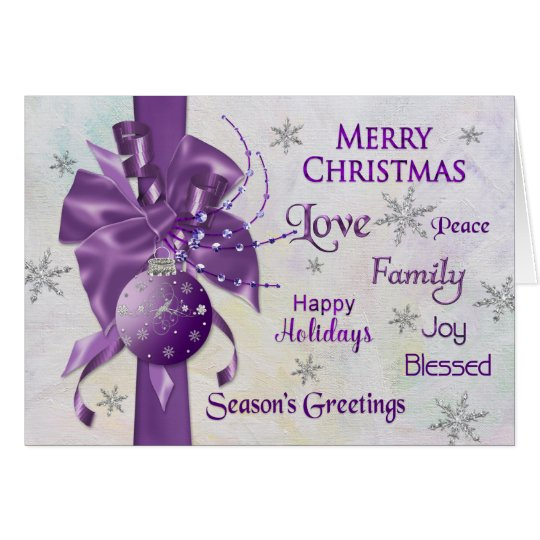 Christmas - Purple - Ribbon - Typography Card