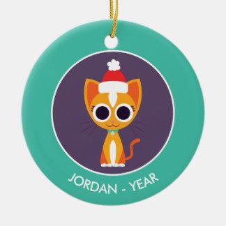 Christmas Purrl the Cat Round Ceramic Decoration