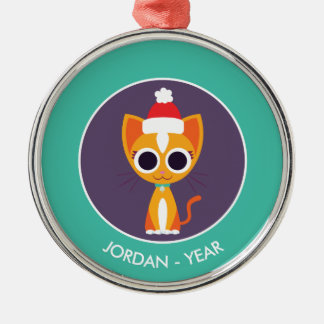 Christmas Purrl the Cat Silver-Colored Round Decoration