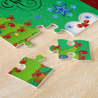 Christmas puzzle gift box for children dark green