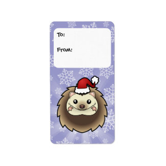 Christmas Pygmy Hedgehog Gift Tags Address Label