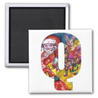 CHRISTMAS Q LETTER  / SANTA  WITH GIFTS MONOGRAM SQUARE MAGNET