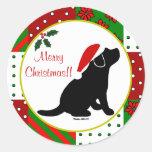Christmas Quilt Black Labrador Puppy Round Stickers