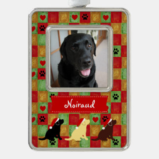 Christmas Quilt Labrador Puppies Silver Plated Framed Ornament