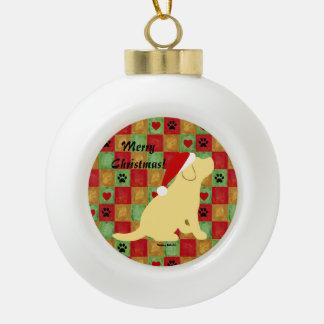 Christmas Quilt Yellow Labrador Puppy Ceramic Ball Christmas Ornament