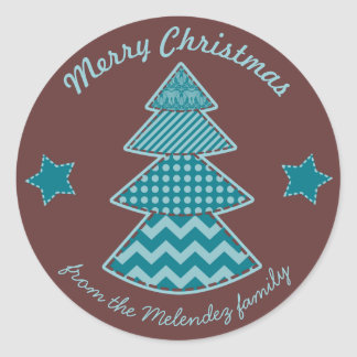 Christmas Quilted Maroon Aqua Teal Classic Round Sticker