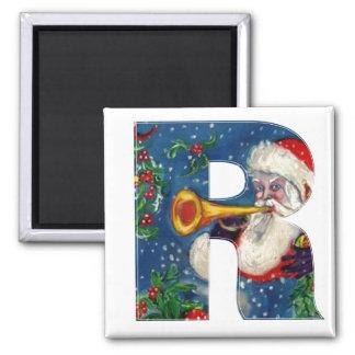 CHRISTMAS R LETTER / SANTA BUGLER MONOGRAM SQUARE MAGNET