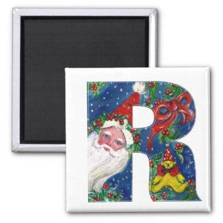 CHRISTMAS R LETTER / SANTA   RED RIBBON MONOGRAM SQUARE MAGNET