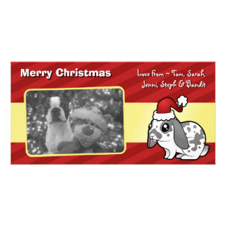 Christmas Rabbit (floppy ear smooth hair) Personalized Photo Card