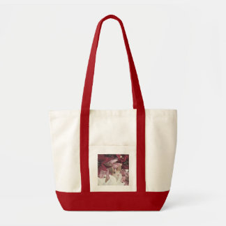 Christmas Rabbit Poinsettia Impulse Tote Bag