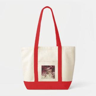 Christmas Rabbit Poinsettia Impulse Tote Bag
