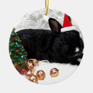 Christmas Rabbit Round Ceramic Decoration
