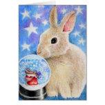 Christmas Rabbit Santa Snowglobe Card