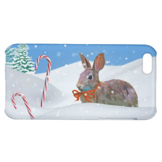 Christmas, Rabbit, Snow, Candy Canes iPhone 5C Case