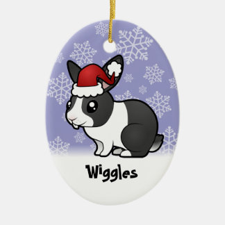 Christmas Rabbit (uppy ear smooth hair) Christmas Ornament