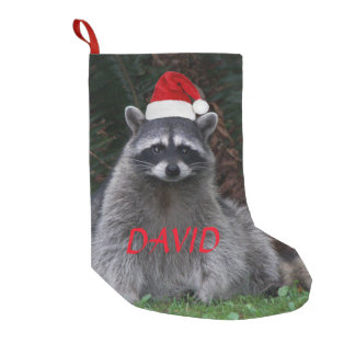 Christmas Raccoon Personalized Small Christmas Stocking