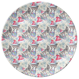Christmas Raccoon Plate