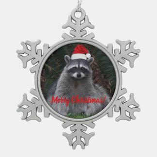 Christmas Raccoon Snowflake Pewter Christmas Ornament