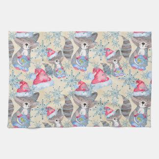 Christmas Raccoon Tea Towel