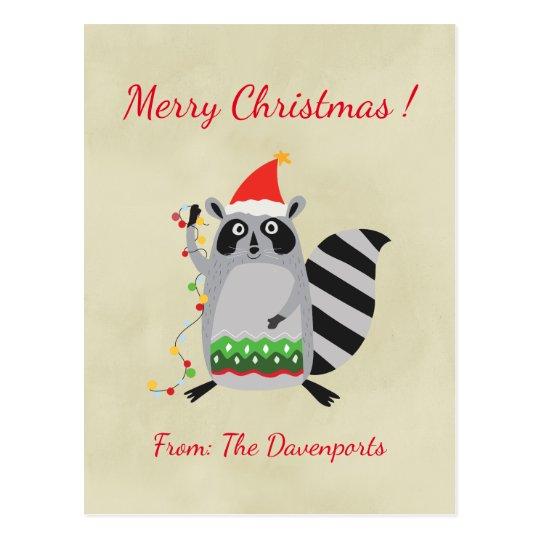 Christmas Racoon Holding Holiday Lights Postcard